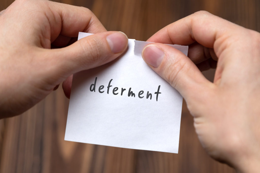 Mortgage deferment post-it note